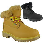 Womens Ladies Fur Lining Lace Up Flats Work Combat Army Ankle Boots Shoes Size