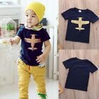 US Kids Boy T-shirt Casual Short Sleeve Cotton Tops Blouse T