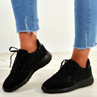 New Womens Studded Lace Up Trainers Sneakers Plimsoll Running Fashion Shoes