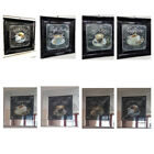 Mocha, cafe latte, cappuccino pictures with crystals, liquid art & black frames