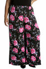 New Womens Plus Size Trouser Ladies Palazzo Pants Floral Print Elastic Nouvelle