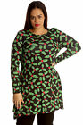 New Ladies Plus Size Top Womens Mistletoe Swing Dress Christmas Print Nouvelle