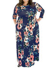Long dark blue dress Size Plus Size flexible and extensible and breathable