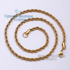 "18-36"" Stainless Steel 3.5 mm Gold Rope Chain Necklace for Men's #C25"