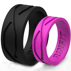 Silicone Wedding Rings | Wedding Bands for Men and Women- 2 Ring pack - RINFIT