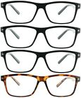 Fiore 4 Pack Reading Glasses Clear Lens Square Frame Readers for Men and Women