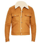brown leather jacket outfits - New Man's Brown Shearling Collar Leather Jacket New Style Fashion Outfit