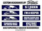 Soccer Custom Phrase Navy Wide Headband with Your Name, # or Team Name!