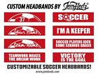 Soccer Custom Phrase Red Wide Headband with Your Name, # or Team Name!