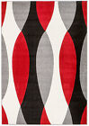 NEW (#311) Rio Area Rug, Gray, Red, Cream ABSTRACT- APROX SIZES: 2X3 2X7 4X5 5X7