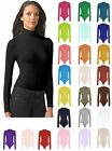 Womens Ladies Long Sleeve Plain High Polo Roll Turtle Neck Bodysuit Leotard Top