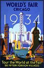 Chicago World's Fair 1934 Vintage Poster Print The World at The Fair Villages