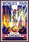 Chicago World's Fair 1933 Century Of Progress Vintage Poster Print Wall Hanging
