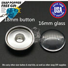 DIY Snap Charm Blank Sets-16mm Glass Cabochon with 18mm Snap Charm Stud Base