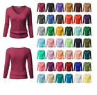 FashionOutfit Women SLIM FIT Solid Button Down V-Neck 3/4 Sleeves Knit Cardigan