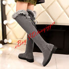 Gladiator Women Rabbit Fur Over Knee High Boots Low Heel Warm Knight Boot сапоги