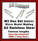 M3 Hexagon / Hex Set Stainless Steel A2 Micro Model Making Various Lengths