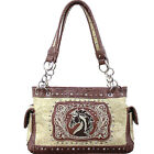 Western Embroidery Horse Cowgirl Equestrian Concealed Carry Purse Handbag Bag