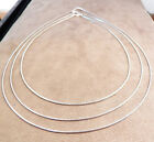 NEW SOLID STERLING SILVER 1MM ROUND OMEGA NECKLACE 16 TO 20 INCHES
