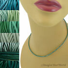 2 mm Teal Leather Cord Necklace or Choker Custom Length pick colors Handmade USA