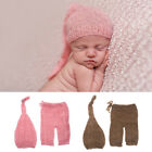 Mohair Newborn Photography Props Costumes Hat Pants Set Baby Photo Accessories