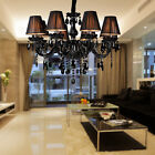 black crystal lamp - Elegant Black Crystal Chandelier Pendant Light Ceiling Lamp 8 Lighting fixtures
