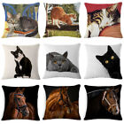 "18"" Cat & Horse Throw Pillow Case Linen Home Decor Sofa Car Waist Cushion Cover  image"