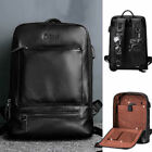 "Real Leather Business Backpack Rucksack 14"" Laptop Schoolbag w/ Charging Port"
