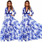 Plus Size Women Long Maxi Party Dress Ladies Long Sleeve Boho Summer Print Dress