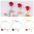 Charming Women's Rose Flower Bracelet Bangle Chain Wristband Jewelry Red Gold