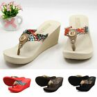 Women Summer Wedge Platform Thong Flip Flops Sandals Beach Slippers Shoes