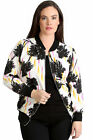 New Womens Plus Size Bomber Jacket Ladies Palm Tree Print Striped Ribbed Warm