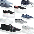 New Womens Slip On Sneakers Ladies Plimsolls Trainers Styleish Shoes Sizes 3-7.5