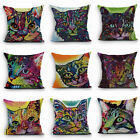Multicolor Cat Pattern Sofa Throw Pillow Case Home Decor Square Cushion Cover