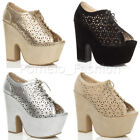 WOMENS HIGH BLOCK HEEL CUT OUT PEEP TOE ANKLE BOOTS PLATFORM SHOES SIZE 6 39