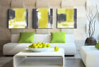 3 piece picture - 3 piece Painting Abstract Yellow Grey White Canvas Wall Art Picture Print Framed
