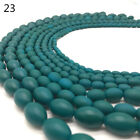 New 4x6-11x15mm Charm Matte Rubber Neon Oval Glass Spacer Loose Beads DIY XPZ23