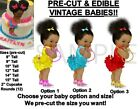 PRE-CUT Bright Colors Ruffle Pants Afro Buns Baby EDIBLE Cake Topper Image Shoes