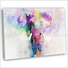 Elephant Abstract Watercolour Canvas Print Framed Animal Wall Art Picture