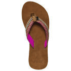 REEF NEW Womens Gypsy Love Leather Flip Flops Brown/Pink BNWT