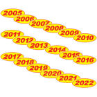 Oval Year Red & Yellow Car Dealer Windshield Oval Year Model Sticker You Pick