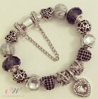 Silver Plated Charm Bracelet with Pearl Grey & Black Charms