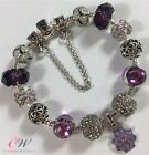 Silver Plated Flower Charm Bracelet- Purple & Crystal Charms - Gift Boxed