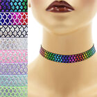"Metallic Scales Elastic Choker 5/8"" Custom necklace mermaid dragon snake stretch"
