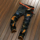 2018 Mens Straight Zip Skinny Slim Fit Ripped Denim Jeans Patchwork Trousers