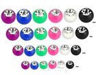 10pcs Solid Color Acrylic CZ Gem Ball Replacement Body Jewelry Parts 16g 14g