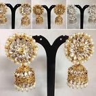 SILVER/GOLDEN PEARL JHUMKA STYLE EARRING BOLLYWOOD TRADITIONAL DESIGN JS5-903