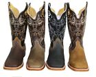 MEN'S RODEO COWBOY BOOTS GENUINE LEATHER WESTERN SQUARE TOE BOTAS-DB 020