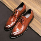 Mens Formal Oxfords Shoes Leather Suit Lace up Brogue Wing Tip Wedding Dress