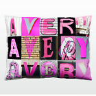 Personalized Pillow featuring the name AVERY in photos of PINK sign letters